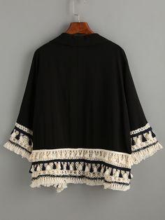 Kimono flecos casual -negro-Spanish SheIn(Sheinside)