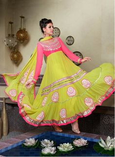 Yellow Tiered Ankle Length Embroidered Anarkali Churidar Kameez