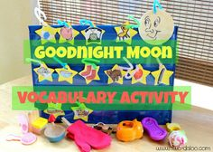 Goodnight Moon Vocabulary Activities from Twodaloo- lots of extension activities and different ways to play with the materials included in the post. Great for tot school, preschool, speech therapy, etc.