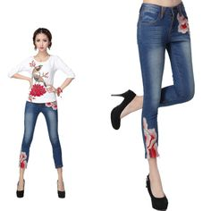 Chinese Style Pants/ Jeans with Chinese Patterns/ Embroideries - Modern Chinese Style Clothing: Skinny Peony 7/8 $59.99 (45,20 €)