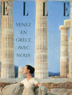 Couverture de Elle n°543 du 21 mai 1956 - Robe de mousseline blanche de Lanvin-Castillo - photo Lionel Kazan