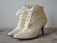 1980s Heels - Vintage 80s Victorian Gothic Granny Ivory White Wedding Lace Up Boots Shoes Size 8 - AND PROMISES. $42.00, via Etsy.