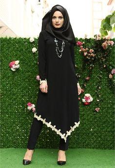 Nehir Etek Güpürlü Uzun Tunik Siyah 9153 Muslim Women Fashion, Arab Fashion, Islamic Fashion, Pink Fashion, Fashion 2017, Modest Fashion, African Fashion, Fashion Outfits, Modest Dresses