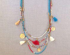 Seed Bead Necklace Turquoise Tassel Necklace Boho Bohemian Statement Turquoise…