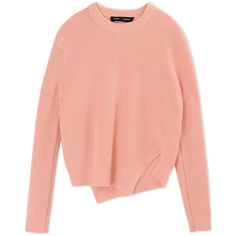 Proenza Schouler Long Sleeve Jumper (€915) ❤ liked on Polyvore featuring tops, sweaters, salmon pink, ribbed top, wool sweater, pink top, red long sleeve top and jumpers sweaters