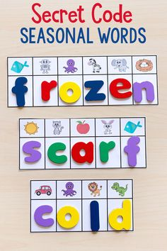 This secret code seasonal words activity is a fun word building literacy center activity for all 4 seasons.