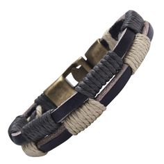 Ebony n Ivory Men's Nautical Double Hoop Leather Bracelet Cuff Golden Metal Clasp -