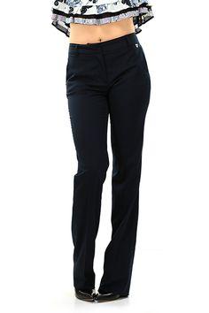 TWIN-SET SIMONA BARBIERI - Pantaloni - Abbigliamento - Pantaloni in viscosa elasticizzata con gamba bootcut, tasche laterali ed a filetto sul retro. - BLU - € 106.00