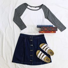 Our favorite back to school outfit is a baseball tee and denim skirt with sneakers or birks. Shop this look at any of our four locations! #freestylefind #freestyleclothingexchange #backtoschool #ootd #style