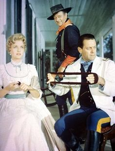 "JOHN WAYNE, CONSTANCE TOWERS & WILLIAM HOLDEN in ""THE HORSE SOLDIERS"" (1959)"