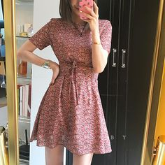 2017 new Korea chic retro small floral cross strap short waist dress 428190
