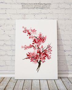 Pintura acuarela de la flor de cerezo rosa regalos para ella