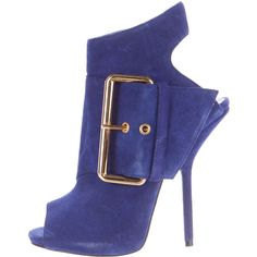 Pre-owned Giuseppe Zanotti Suede Peep-Toe Ankle Boots ($295) ❤ liked on Polyvore featuring shoes, boots, ankle booties, blue, ankle boots, peep-toe booties, blue booties, buckle ankle boots and peep toe booties