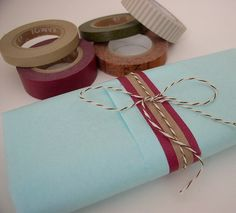 Simple washi gift wrapping