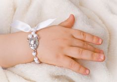 White baby baptism bracelet