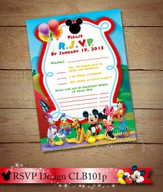 Mickey Mouse RSVP Card, Clubhouse RSVP Card To Match Clubhouse Invitation, Mickey Mouse Clubhouse, Digital Printable Customizable RSVP card