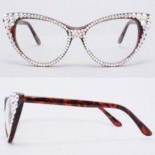 17c51eefa1 CRYSTAL Cat Eye Glasses-Aurora Borealis on Brown Frame (as seen on Wendy  Williams