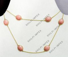 Synthetic Pink Coral bezel Setted brass gold Plated Long Chain Gemstone Necklace #Handmade #Chain