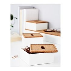 IKEA - KVISSLE, Box with lid, set of 4, Perfect for pens, note pads and business cards.You can also use the small lids as coasters for your water glass.