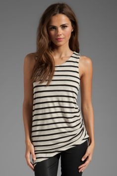 Kain Sheer Jersey Raven Tank in Oatmeal/Black Stripe