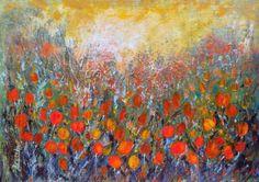 "Saatchi Art Artist Areti Ampi; Painting, ""Meadow with tulips"" #art"