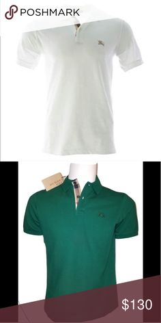 Burberry lot of 2 Lot of 2 polo shirts a green one and a white one 0d512e99405