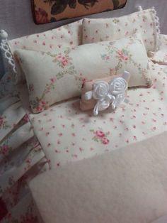 Miniature Dollhouse Bedding Shabby style with Rug by DebbieCalif, $50.00
