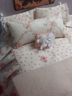 SaleMiniature Dollhouse Bedding Shabby style by RibbonwoodCottage