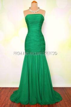 "Emerald Green Evening Prom Pageant Long Formal Holiday Gown Dress XS 0 2 ""Holly"" 