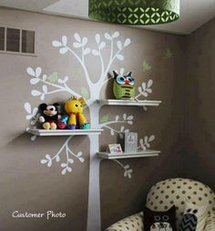 tree wall with shelving and vinyl