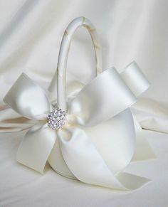 Ivory Flower Girl Basket with Rhinestone by weddingsandsuch
