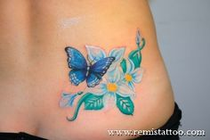 Black flower tattoo with little blue butterfly tattoo flower tattoos Blue+Butterfly+Tattoo+fo. Pretty Tattoos, Love Tattoos, Beautiful Tattoos, Body Art Tattoos, New Tattoos, I Tattoo, Tattoos For Women, Tatoos, Cross Tattoos