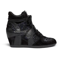Ash 'Bowie' sequin crochet high top wedge sneaker ($150) ❤ liked on Polyvore featuring shoes, sneakers, black, high top sneakers, black high tops, black sneakers, hidden wedge sneakers and suede sneakers