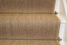 For Stair Runner if needed but in stainless steel Stair Rug Runner, Stair Runners, Staircase Railings, Staircases, Rugs On Carpet, Carpets, Tiled Hallway, Burlap Runners, Stair Landing