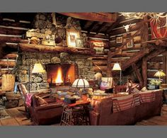 Ralph Lauren Colorado Ranch. Another living area showcases Stickley furniture and a suspended canoe
