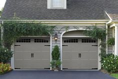 Sears Carriage House Style Garage Doors  Love the colors and greenery