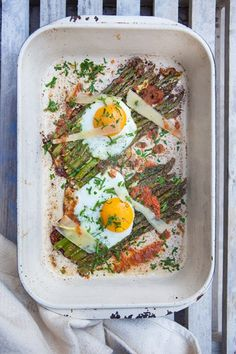 Hemsley + Hemsley's protein-laden recipe makes for the perfect weekend brunch - Oven-Baked Asparagus & Eggs