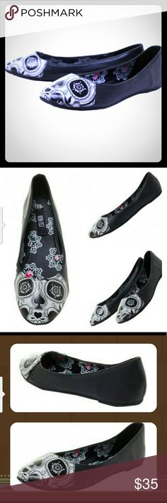 IRON FIST PEEK A BOO FLATS WEEKEND SALE Pop! Goes the Sugar Skull with these Peek A Boo Flats from Iron Fist! These comfy, round-toe flats flaunt a monochromatic sugar skull on the toe. 100% Vegan-Friendly you can dress up any outfit for a deadly good time!  100% Polyurethane  Vegan Friendly  Rubber Sole Iron Fist Shoes Flats & Loafers