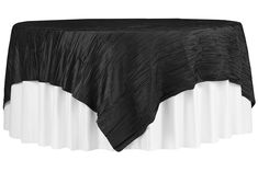 """Accordion Crinkle Taffeta Table Overlay Topper 85""""x85"""" Square - Black   ●  As Low as $9.99  ●  Available from www.cvlinens.com"""