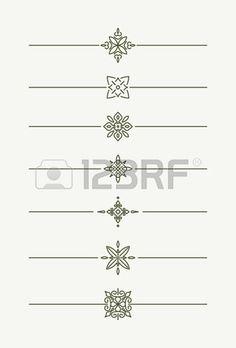 Set of 7 decorative vector mono line style text dividers decorative elements  Stock Photo