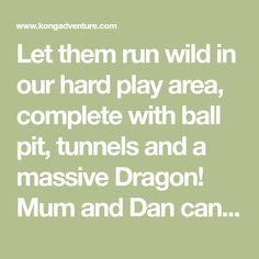 Let them run wild in our hard play area, complete with ball pit, tunnels and a massive Dragon! Mum and Dan can relax in our cafe while the kid's are at play