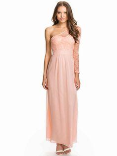 One Shoulder Lace Sleeve Chiffon Maxi Dress