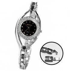 FW819B Resist Agua Negro Dial Las mujeres con estilo de Alexis Marca de cristal reloj pulsera