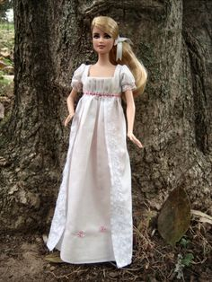 """""""Dove White"""" 1810 Regency Dress for Barbie Dolls - by Morgan May @ Stardust… Barbie Clothes Patterns, Doll Clothes Barbie, Barbie Dress, Clothing Patterns, Barbie Doll, Fashion Dolls, Retro Fashion, Regency Dress, Barbie Princess"""