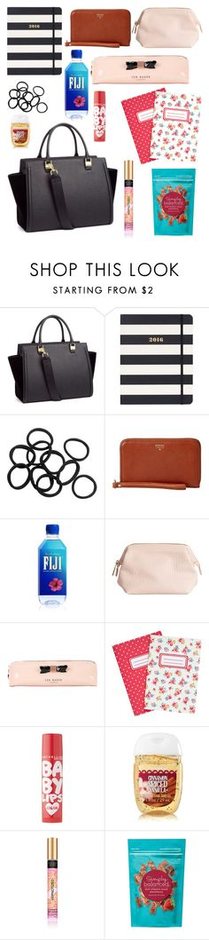 """""""What's in my uni bag ?"""" by carly-olly ❤ liked on Polyvore featuring beauty, H&M, Kate Spade, FOSSIL, Ted Baker, Cath Kidston and Maybelline"""