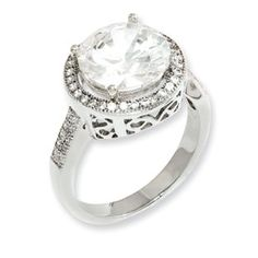 Sterling Silver Round CZ Engagement Ring Sterling Silver CZ Jewelry Available Exclusively at Gemologica.com