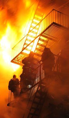 New York Firefighters battle a five-alarm Brooklyn fire.   NYPOST.com
