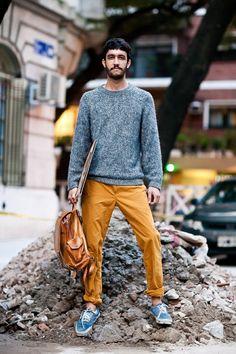 men fashion Yellow Pants Outfit 3d86618e751