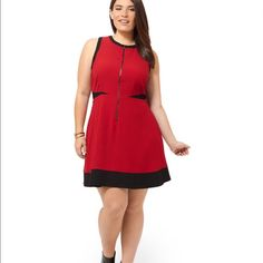 "HP 11/11 Red Fit & Flare ""Galadriel"" Dress Sleeveless crepe fit and flare dress with crew neck, exposed front zipper, and red/black colorblock design. **Note: tag is coming loose (see picture 4)** HP 11/11 Insta-Chic Party by @prrtynpink BB Dakota Dresses"