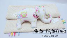 Zestaw kocyk + słoń z bawełny w sowy i beżowego pluszu (komplet uszyty na zamówienie dla Lilki). www.facebook.pl/malawytwornia